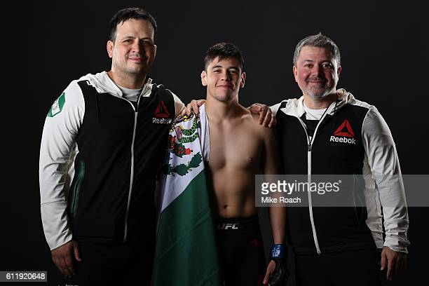 Brandon Moreno of Mexico poses for a post fight portrait backstage during the UFC Fight Night event at the Moda Center on October 1 2016 in Portland...