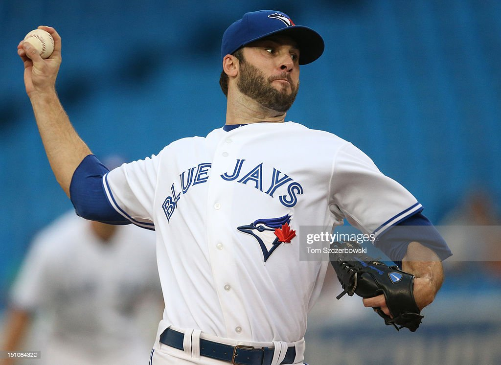 <a gi-track='captionPersonalityLinkClicked' href=/galleries/search?phrase=Brandon+Morrow&family=editorial&specificpeople=4172783 ng-click='$event.stopPropagation()'>Brandon Morrow</a> #23 of the Toronto Blue Jays delivers a pitch during MLB game action against the Tampa Bay Rays on August 31, 2012 at Rogers Centre in Toronto, Ontario, Canada.