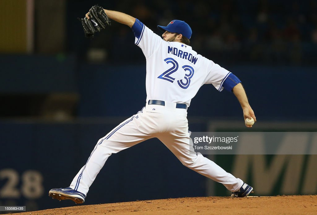 Brandon Morrow #23 of the Toronto Blue Jays delivers a pitch during MLB game action against the Minnesota Twins on October 3, 2012 at Rogers Centre in Toronto, Ontario, Canada.