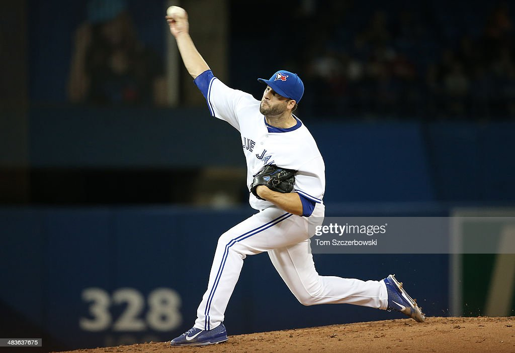 Brandon Morrow #23 of the Toronto Blue Jays delivers a pitch in the third inning during MLB game action against the Houston Astros on April 9, 2014 at Rogers Centre in Toronto, Ontario, Canada.
