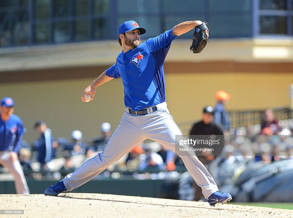 <a gi-track='captionPersonalityLinkClicked' href=/galleries/search?phrase=Brandon+Morrow&family=editorial&specificpeople=4172783 ng-click='$event.stopPropagation()'>Brandon Morrow</a> #23 of the Toronto Blue Jays pitches during the spring training game against the Detroit Tigers at Joker Marchant Stadium on March 6, 2013 in Lakeland, Florida. The Tigers defeated the Blue Jays 4-1.