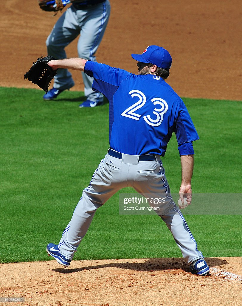 <a gi-track='captionPersonalityLinkClicked' href=/galleries/search?phrase=Brandon+Morrow&family=editorial&specificpeople=4172783 ng-click='$event.stopPropagation()'>Brandon Morrow</a> #23 of the Toronto Blue Jays pitches during the spring training game against the New York Yankees at George M. Steinbrenner Field on February 28, 2013 in Tampa, Florida.