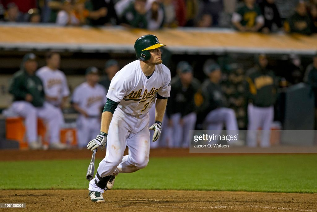 Brandon Moss #37 of the Oakland Athletics hits a two run walk off home run against the Los Angeles Angels of Anaheim during the nineteenth inning at O.co Coliseum on April 30, 2013 in Oakland, California. The Oakland Athletics defeated the Los Angeles Angels of Anaheim 10-8 in 19 innings.
