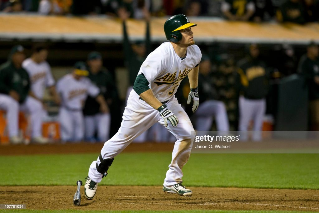 Brandon Moss #37 of the Oakland Athletics hits a walk off two run home run against the Los Angeles Angels of Anaheim during the nineteenth inning at O.co Coliseum on April 30, 2013 in Oakland, California. The Oakland Athletics defeated the Los Angeles Angels of Anaheim 10-8 in 19 innings.