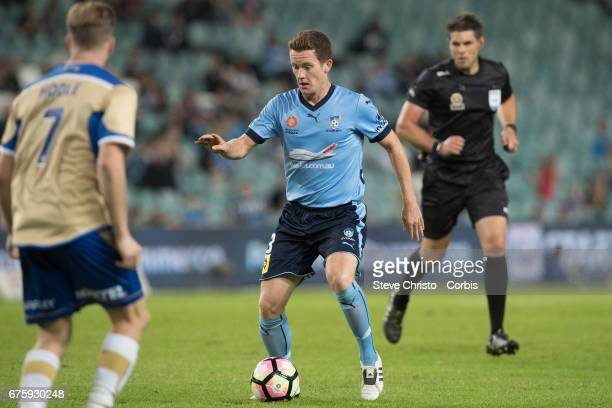 Brandon O'Neill in action during the ALeague match between Sydney FC and the Newcastle Jets at Allianz Stadium on April 15 2017 in Sydney Australia
