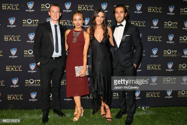 Brandon O'Neill Nicole Blank Lucy Miller and Joshua Brillante arrive at the 2017 Sky Blue Ball at Sydney Cricket Ground on May 12 2017 in Sydney...
