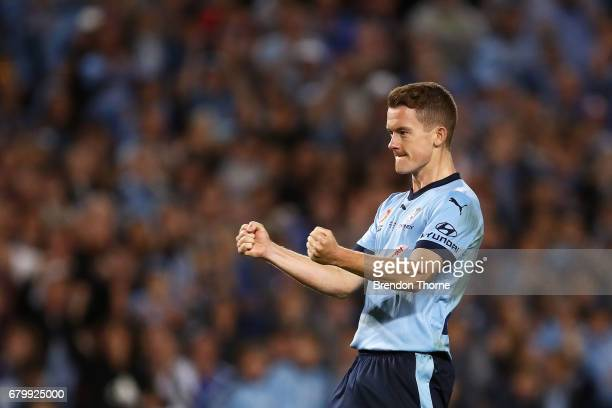 Brandon O'Neill of Sydney celebrates after scoring a penalty in a penalty shoot out during the 2017 ALeague Grand Final match between Sydney FC and...