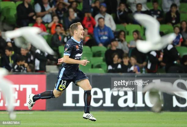Brandon O'Neill of Sydney FC celebrates after scoring their second goal during the round 21 ALeague match between Melbourne City and Sydney FC at...