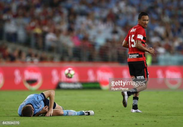 Brandon O'Neill of Sydney FC clashes with Kearyn Baccus of the Wanderers during the round 20 ALeague match between the Western Sydney Wanderers and...