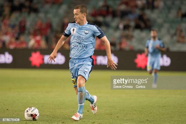 Brandon O'Neill of Sydney FC dribbles the ball during the FFA Cup Final match between Sydney FC and Adelaide United at Allianz Stadium on November 21...