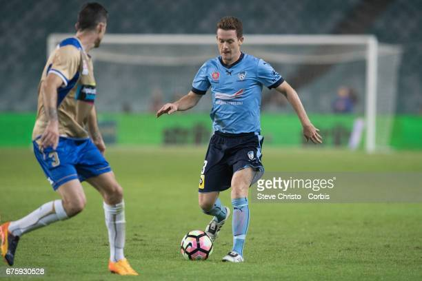 Brandon O'Neill of Sydney FC in action during the ALeague match between Sydney FC and the Newcastle Jets at Allianz Stadium on April 15 2017 in...