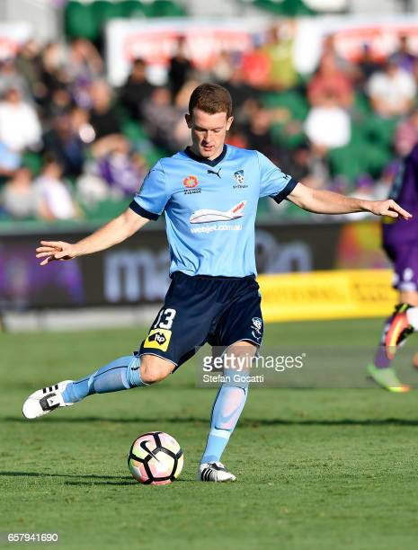 Brandon O'Neill of Sydney FC passes the ball during the round 24 ALeague match between Perth Glory and Sydney FC at nib Stadium on March 26 2017 in...