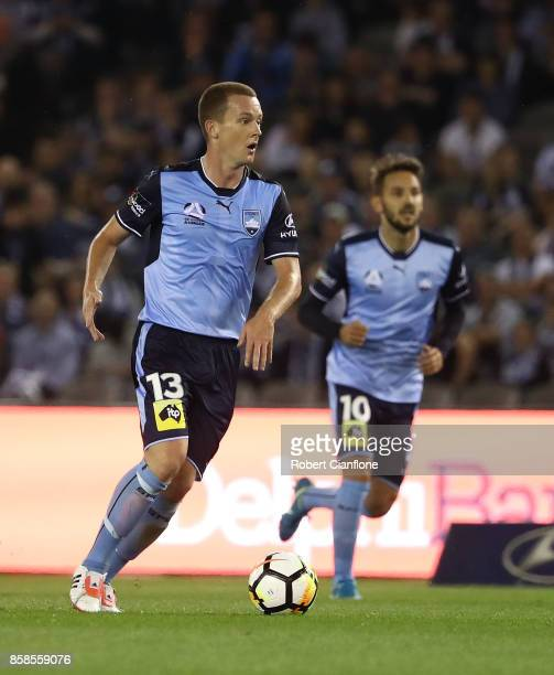 Brandon O'Neill of Sydney FC runs with the ball during the round one ALeague match between the Melbourne Victory and Sydney FC at Etihad Stadium on...
