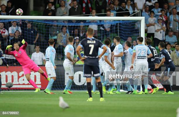 Brandon O'Neill of Sydney FC scores their second goal during the round 21 ALeague match between Melbourne City and Sydney FC at AAMI Park on February...