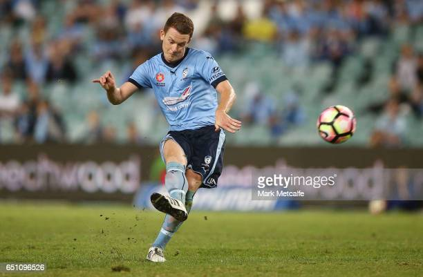 Brandon O'Neill of Sydney FC takes a free kick during the round 23 ALeague match between Sydney FC and the Central Coast Mariners at Allianz Stadium...