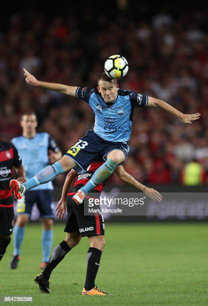 Brandon O'Neill of Sydney FC wins a header during the round three ALeague match between Sydney FC and the Western Sydney Wanderers at Allianz Stadium...