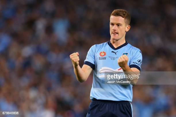 Brandon O'Neill of Sydney reacts after scoring a goal in a penalty shoot out during the 2017 ALeague Grand Final match between Sydney FC and the...