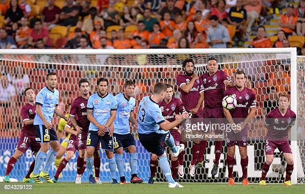 Brandon O'Neill of Sydney takes a free kick during the round seven ALeague match between the Brisbane Roar and Sydney FC at Suncorp Stadium on...