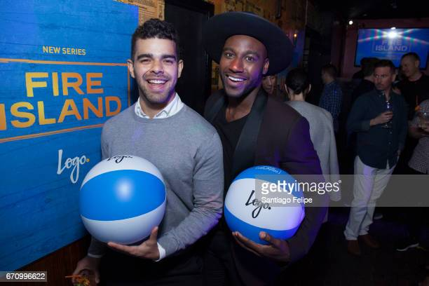 Brandon Osorio and Khasan Brailsford attend Logo TV Fire Island Premiere Party at Atlas Social Club on April 20 2017 in New York City