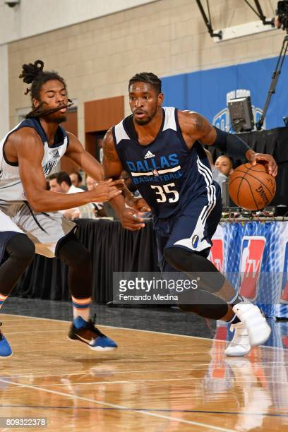 Brandon Paul of the Dallas Mavericks drives to the basket against the Oklahoma City Thunder during the Mountain Dew Orlando Pro Summer League on July...
