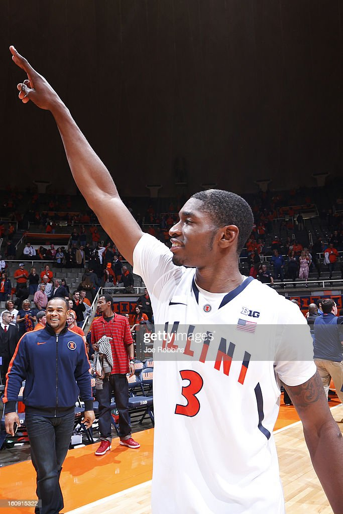 Brandon Paul #3 of the Illinois Fighting Illini celebrates after the game against the Indiana Hoosiers at Assembly Hall on February 7, 2013 in Champaign, Illinois. Illinois defeated No. 1 ranked Indiana 74-72.