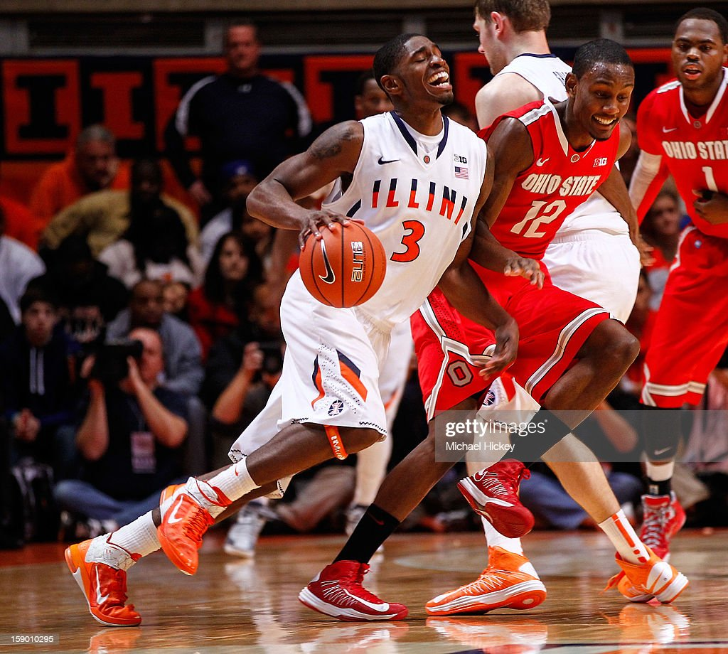 Brandon Paul #3 of the Illinois Fighting Illini dribbles against Sam Thompson #12 of the Ohio State Buckeyes at Assembly Hall on January 5, 2013 in Champaign, Illinois. Ilinois defeated Ohio State 74-55.