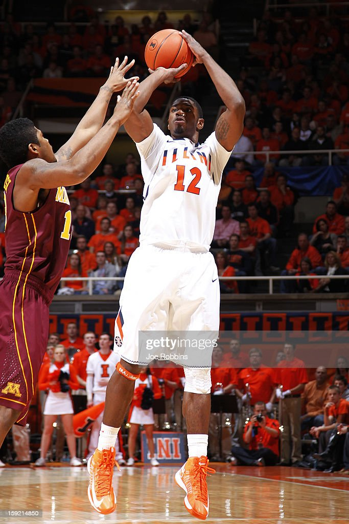 Brandon Paul #12 of the Illinois Fighting Illini shoots the ball against the Minnesota Golden Gophers during the game at Assembly Hall on January 9, 2013 in Champaign, Illinois.