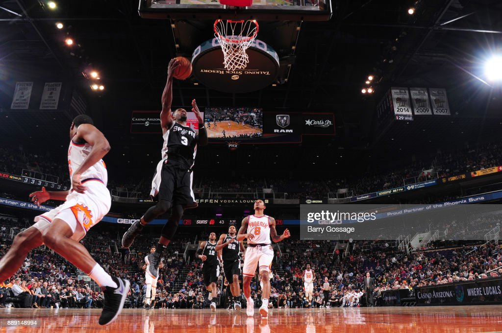 Brandon Paul #3 of the San Antonio Spurs goes for a lay up against the Phoenix Suns on December 9, 2017 at Talking Stick Resort Arena in Phoenix, Arizona.