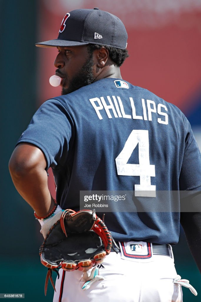 Brandon Phillips #4 of the Atlanta Braves looks on during the spring training game at Champion Stadium on February 25, 2017 in Lake Buena Vista, Florida. The Braves defeated the Blue Jays 7-4.