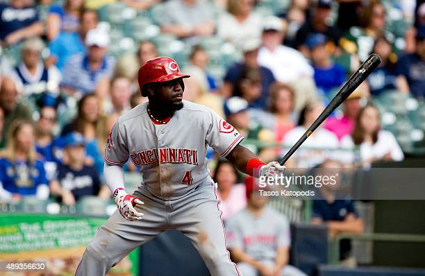 Brandon Phillips of the Cincinnati Reds bats against the Milwaukee Brewers at Miller Park on September 20 2015 in Milwaukee Wisconsin