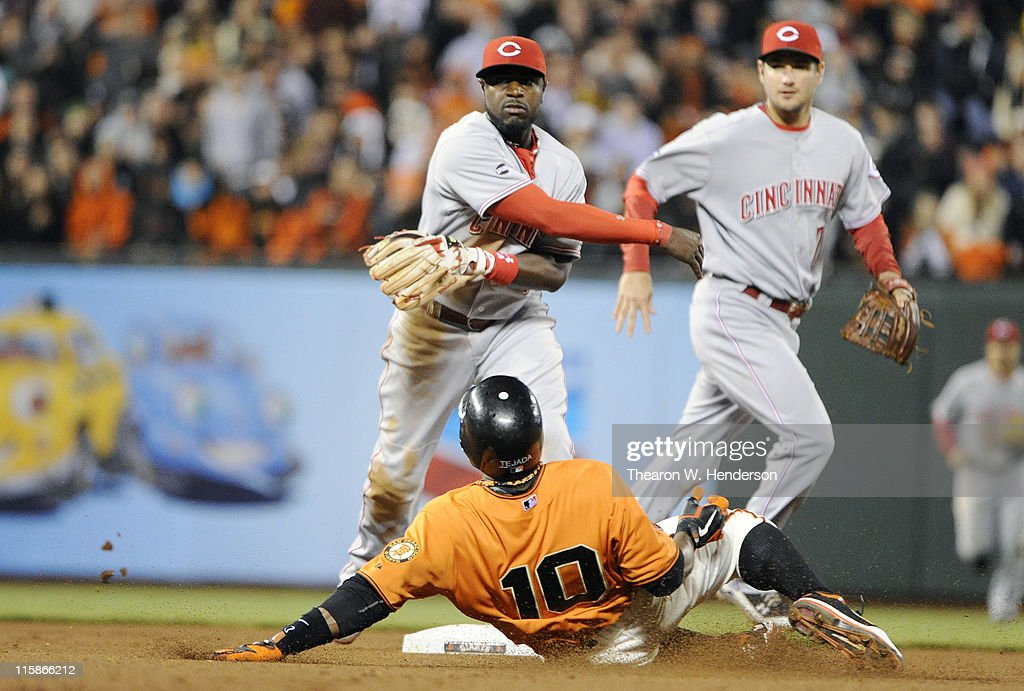 Brandon Phillips #4 of the Cincinnati Reds gets his throw off before <a gi-track='captionPersonalityLinkClicked' href=/galleries/search?phrase=Miguel+Tejada&family=editorial&specificpeople=202227 ng-click='$event.stopPropagation()'>Miguel Tejada</a> #10 of the San Francisco Giants can break up the double play during a MLB baseball game June 10, 2011 at AT&T Park in San Francisco, California. The Giants won the game 3-2.
