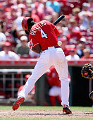 Brandon Phillips of the Cincinnati Reds is hit by a pitch in the 8th inning against the Pittsburgh Pirates at Great American Ball Park on August 2...