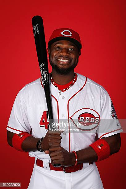 Brandon Phillips of the Cincinnati Reds poses for a portrait during spring training photo day at Goodyear Ballpark on February 24 2016 in Goodyear...