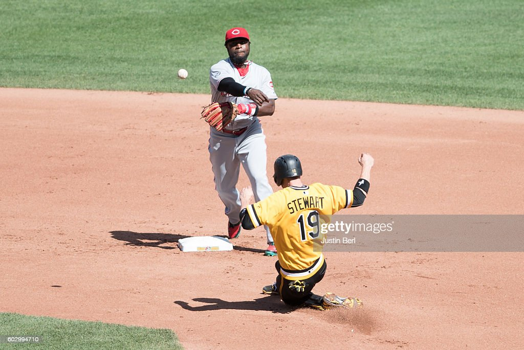 Brandon Phillips #4 of the Cincinnati Reds starts a double play in the fourth inning during the game against the Pittsburgh Pirates at PNC Park on September 11, 2016 in Pittsburgh, Pennsylvania.