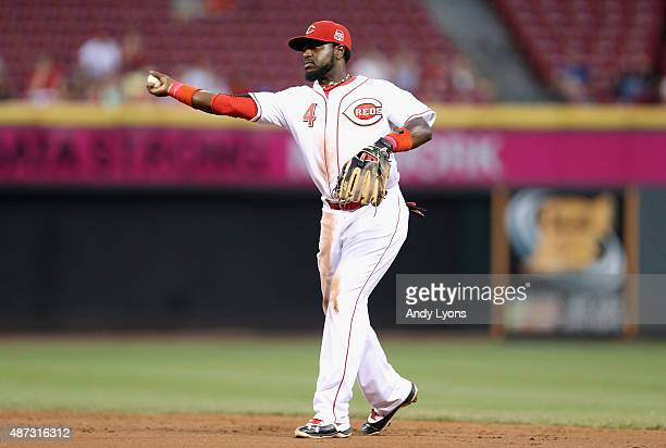 Brandon Phillips of the Cincinnati Reds throws the ball to first base during the game against the Pittsburgh Pirates at Great American Ball Park on...