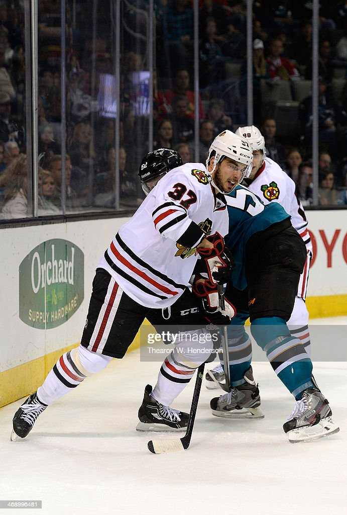 Brandon Pirri #37 of the Chicago Blackhawks skates against the San Jose Sharks during the third period at SAP Center on February 1, 2014 in San Jose, California.