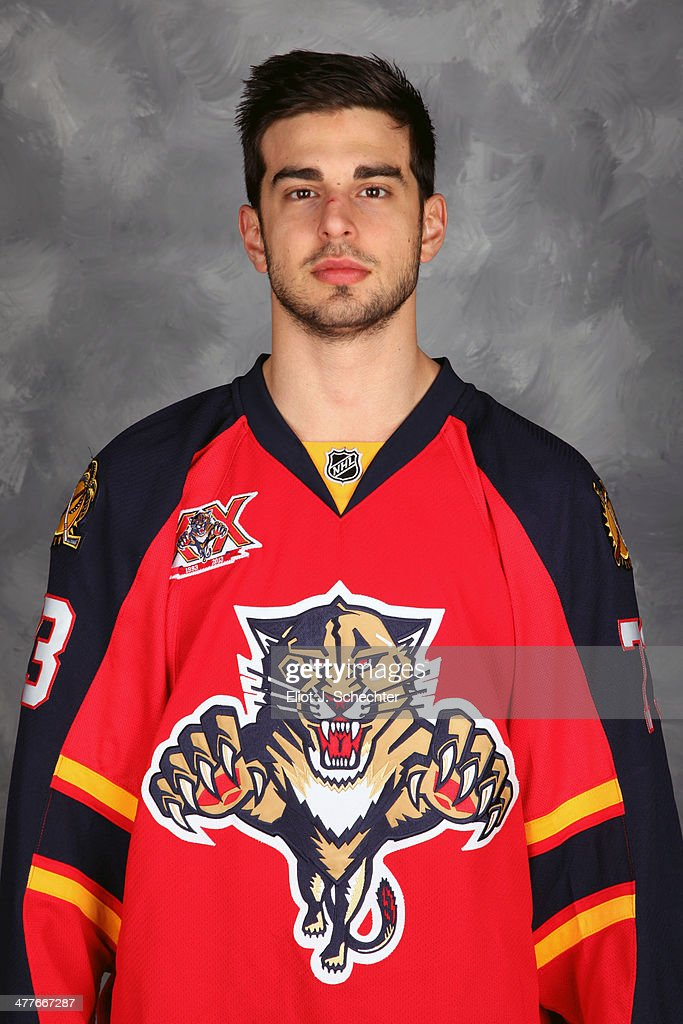 <a gi-track='captionPersonalityLinkClicked' href=/galleries/search?phrase=Brandon+Pirri&family=editorial&specificpeople=5894589 ng-click='$event.stopPropagation()'>Brandon Pirri</a> #73 of the Florida Panthers poses for his official headshot for the 2013-2014 NHL season.