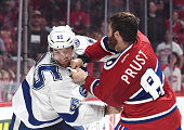 Brandon Prust of the Montreal Canadiens fights with Braydon Coburn of the Tampa Bay Lightning in Game 2 of the Eastern Conference Semifinals during...
