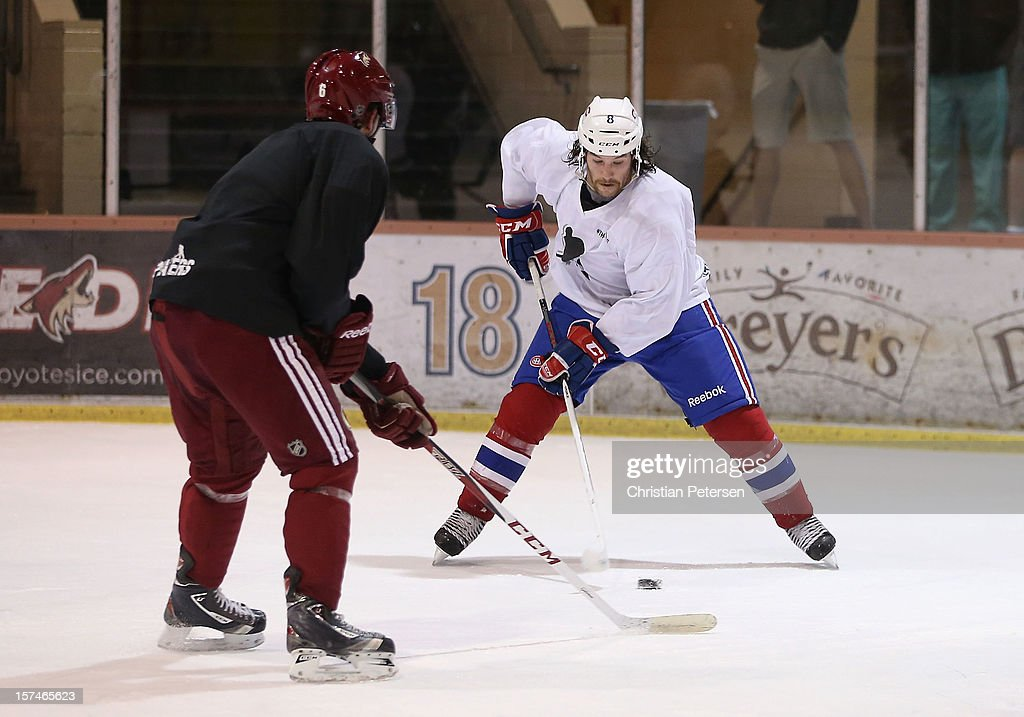 <a gi-track='captionPersonalityLinkClicked' href=/galleries/search?phrase=Brandon+Prust&family=editorial&specificpeople=2221796 ng-click='$event.stopPropagation()'>Brandon Prust</a> #8 of the Montreal Canadiens participates in a workout at the Ice Den on December 3, 2012 in Scottsdale, Arizona. More than a dozen players from around the league that are not able to play during the NHL lockout have been attending workouts at the Phoenix Coyotes practice rink.