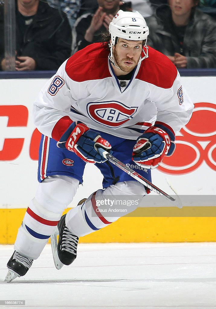 <a gi-track='captionPersonalityLinkClicked' href=/galleries/search?phrase=Brandon+Prust&family=editorial&specificpeople=2221796 ng-click='$event.stopPropagation()'>Brandon Prust</a> #8 of the Montreal Canadiens skates in a game against the Toronto Maple Leafs on April 13, 2013 at the Air Canada Centre in Toronto, Ontario, Canada. The Leafs defeated the Canadiens 5-1.