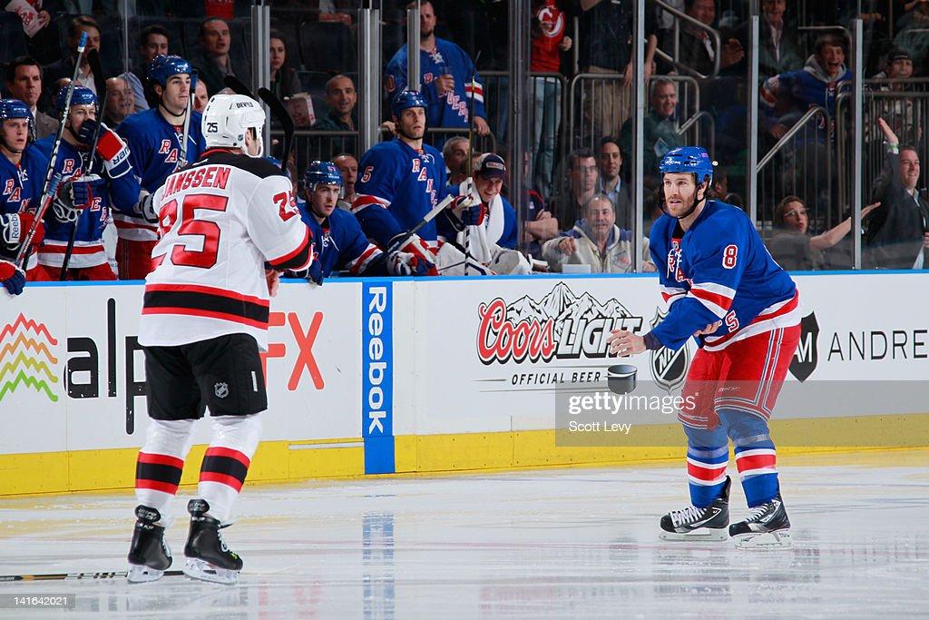 104755dd1e6 ... Brandon Prust 8 of the New York Rangers fights against Cam Janssen 25  of ...