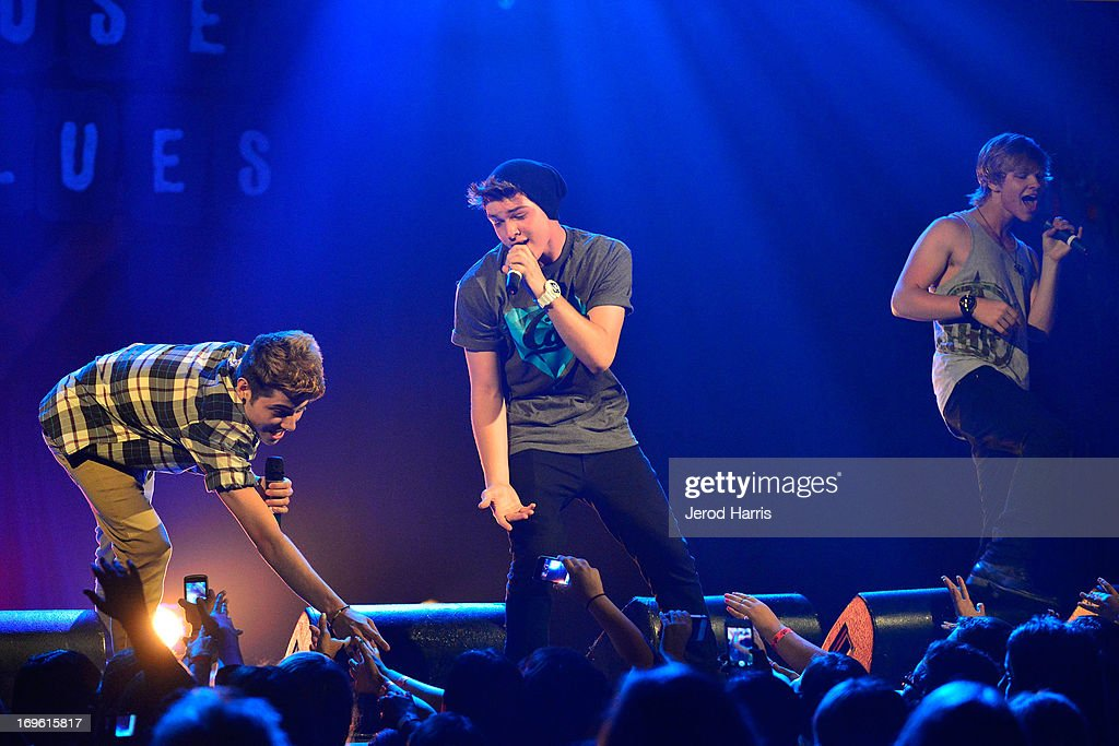 Brandon Pulido, Levi Mitchell and Nick Dean of the Boy Band Project performs at the American Icon Music Tour at House Of Blues on May 28, 2013 in Anaheim, California.