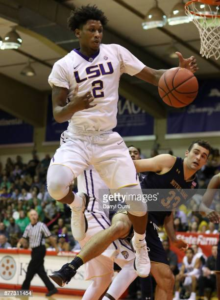Brandon Rachal of the LSU Tigers goes up to grab a rebound during the second half of the game against the Notre Dame Fighting Irish during the Maui...