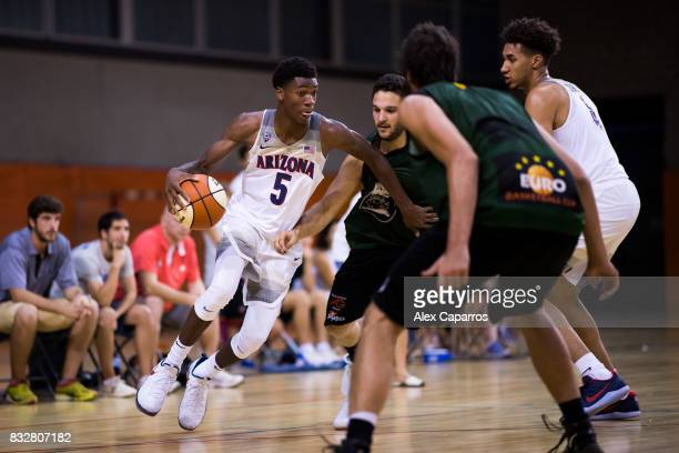 Brandon Randolph of the Arizona Wildcats advances with the ball during the Arizona In Espana Foreign Tour game between Mataro AllStars and Arizona on...
