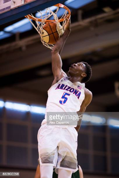 Brandon Randolph of the Arizona Wildcats dunks during the Arizona In Espana Foreign Tour game between Mataro AllStars and Arizona on August 16 2017...
