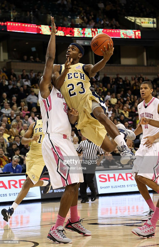 Brandon Reed #23 of the Georgia Tech Yellow Jackets drives to the basket against the Wake Forest Demon Deacons during their game at Lawrence Joel Coliseum on February 16, 2013 in Winston-Salem, North Carolina.