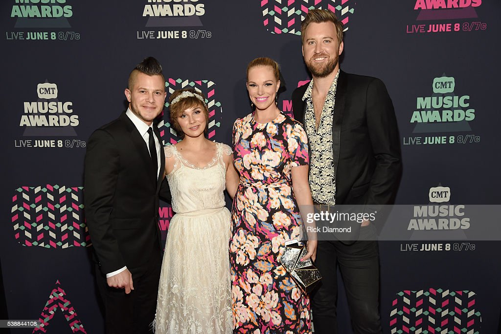Brandon Robert Young actress Clare Bowen Cassie McConnell Kelley and Charles Kelley of Lady Antebellum attend the 2016 CMT Music awards at the...