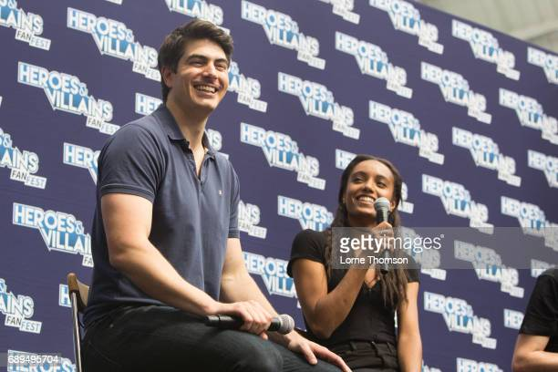Brandon Routh and Maisie RichardsonSellers take part in the Legends Of Tomorrow Panel on day two of Heroes and Villians Convention at Olympia London...