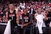 Brandon Roy Marcus Camby and Jeff Pendergraph of the Portland Trail Blazers share a laugh during the team's open scrimmage or 'Fan Fest' October 1...