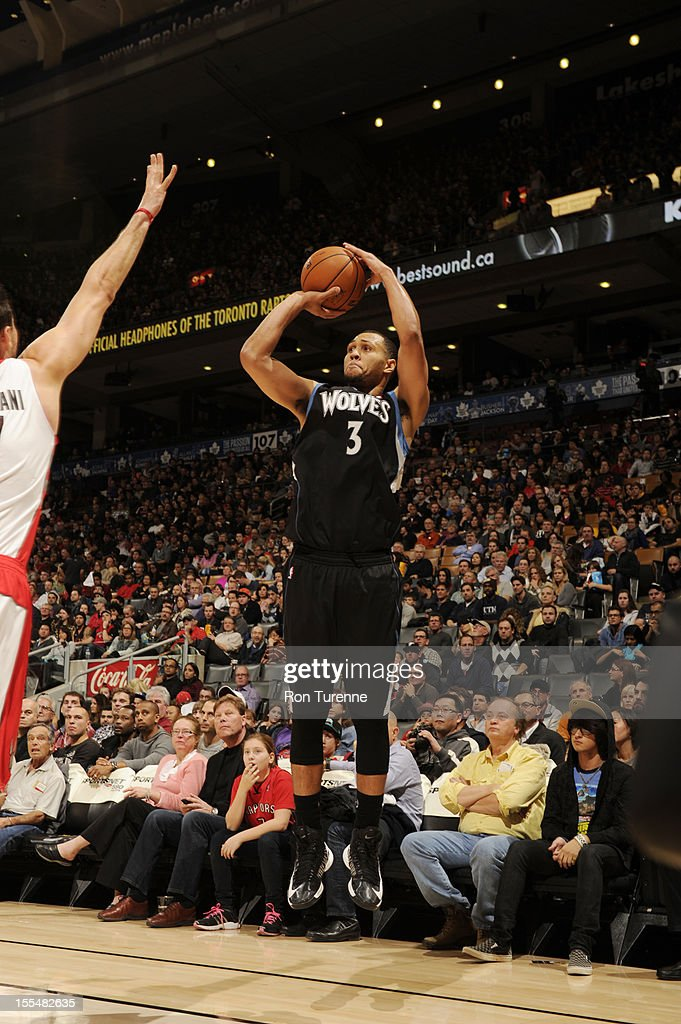 Brandon Roy #3 of the Minnesota Timberwolves attemps a three point shot vs the Toronto Raptors during the game on November 4, 2012 at the Air Canada Centre in Toronto, Ontario, Canada.